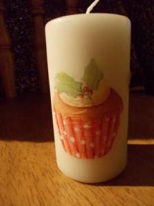 serviettage cupcake candle