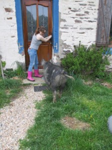 Here's Caiti making sure Rosie doesn't go into the house!