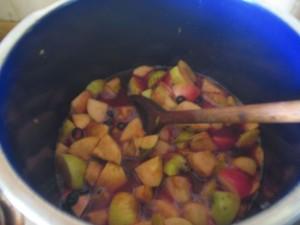 sloe apple jelly in pan